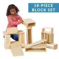 ECR4Kids Oversized Hollow Wooden Block Set for Kids' Play, Natural 18-Piece Set of Wood Blocks, Building Blocks, Wooden Toys, Toddler Building Toys, Building Blocks for Toddlers