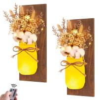 Mason Jar Sconces Wall Decor - Rustic Home Décor - Decorative Jars with Cotton Stems & Baby Breath Flower with Remote Timer LED Fairy Lights for Kitchen Wall Decor Living Room Wall Sconces Set of 2