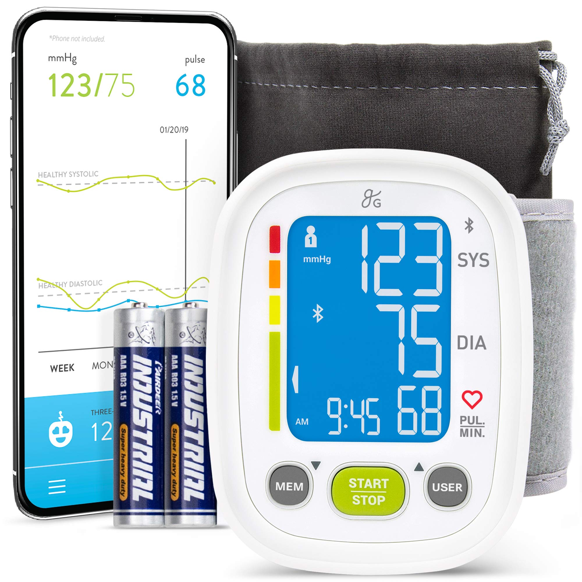 Greater Goods Digital Wrist Blood Pressure Monitor | for Home or On-The-Go, Premium Cuff | Designed in St. Louis (Smart Wrist)