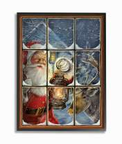 The Stupell Home Décor Collection Holiday Santa Claus in The Windowpane with Lantern Painting Framed Giclee Texturized Art, 16 x 20, Multi-Color