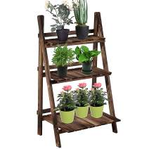 """Outsunny 3-Tier Rustic Wooden Plant Stand Folding Flower Rack for Indoor Outdoor Display, 23.75""""L x 14.25""""W x 37''H"""