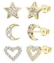 LOYALLOOK 3 Pairs Tiny Moon Star Heart Earring 925 Sterling Silver Heart CZ Multi-Piercing Earring Set for Women