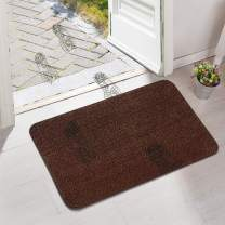 ITSOFT Non-Slip Polyester Dirt Trapper Door Mat Indoor Outdoor Entrance Rug for Front Door Super Absorbent, Machine Washable, 30 x 18 Inches Brown & Camel