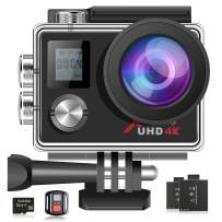 Campark 4K Action Camera 16MP WiFi 30M Underwater Cam 170° Wide Angle with Remote 2 Batteries and Mounting Accessories Kit (32GB Memory Card Included)