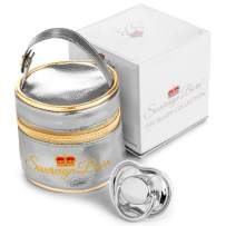 Sovereign Born Baby Pacifier with Carrying Case in Silver - Super Chic Baby Pacifier for Baby Girls or Baby Boys - Perfect Newborn Present or Baby Shower Gift.