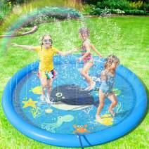 "Peradix Sprinkler Splash Mat 68"", Water Splash Play Mat for Kids Toddlers Dogs, Baby Infant Splash Pad Wadding Pool, Kiddie Baby Pool, Outdoor Backyard Fountain Play Mat for 1-12 Year Old Boys Girls"