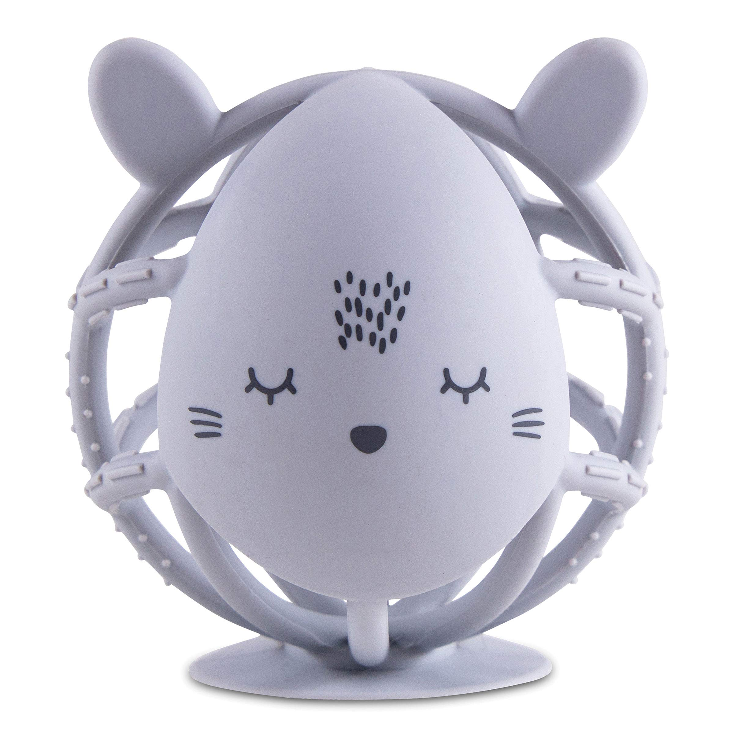 Tiny Twinkle Silicone Teether Toy - Grey Bunny - BPA Free Multi Textured, Suction Base teether Ball for Baby, Infants, Toddlers - Soothes Gums, Easy to Grasp, Safe to chew for Newborn +