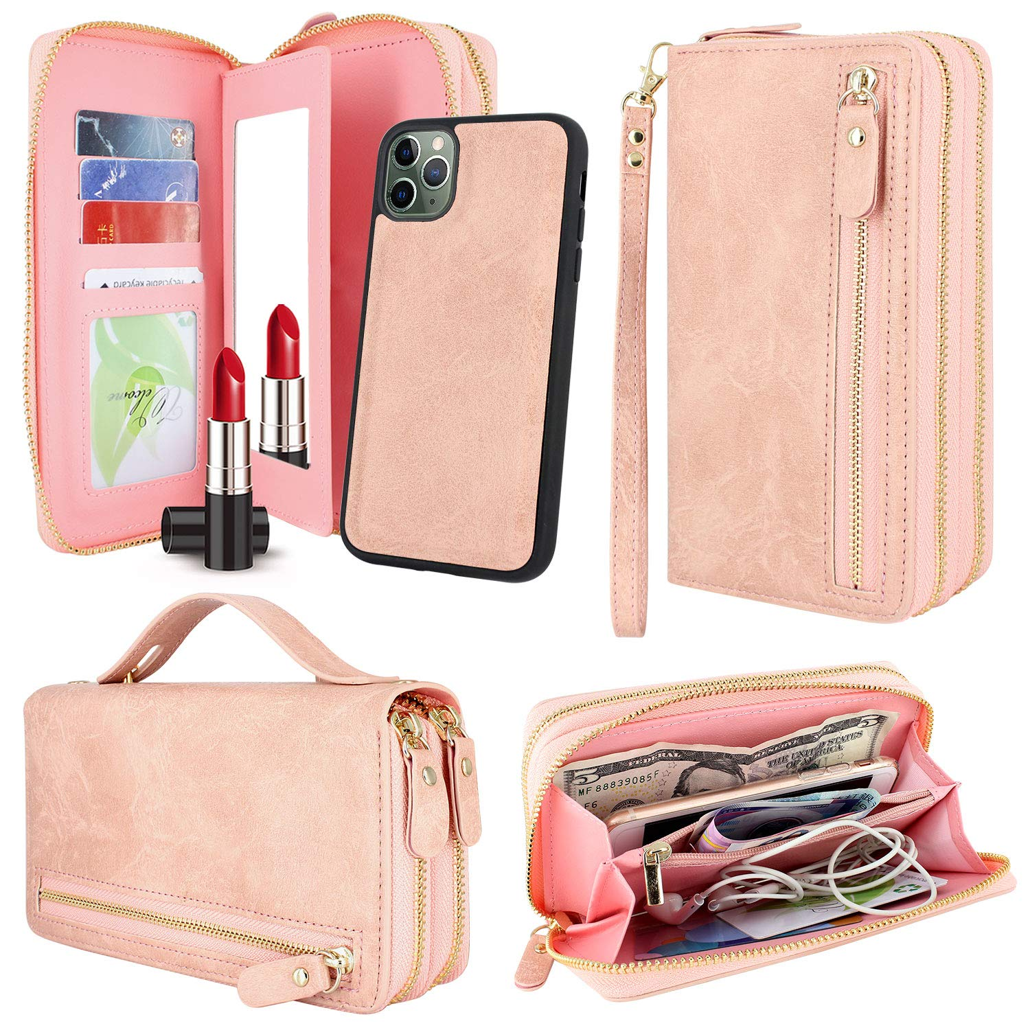 Harryshell Multi Zipper Detachable Magnetic Wallet Case Clutch Purse with Card Slots Mirror Handstrap for iPhone 11 Pro Max 6.5 inch 2019 (Pink)