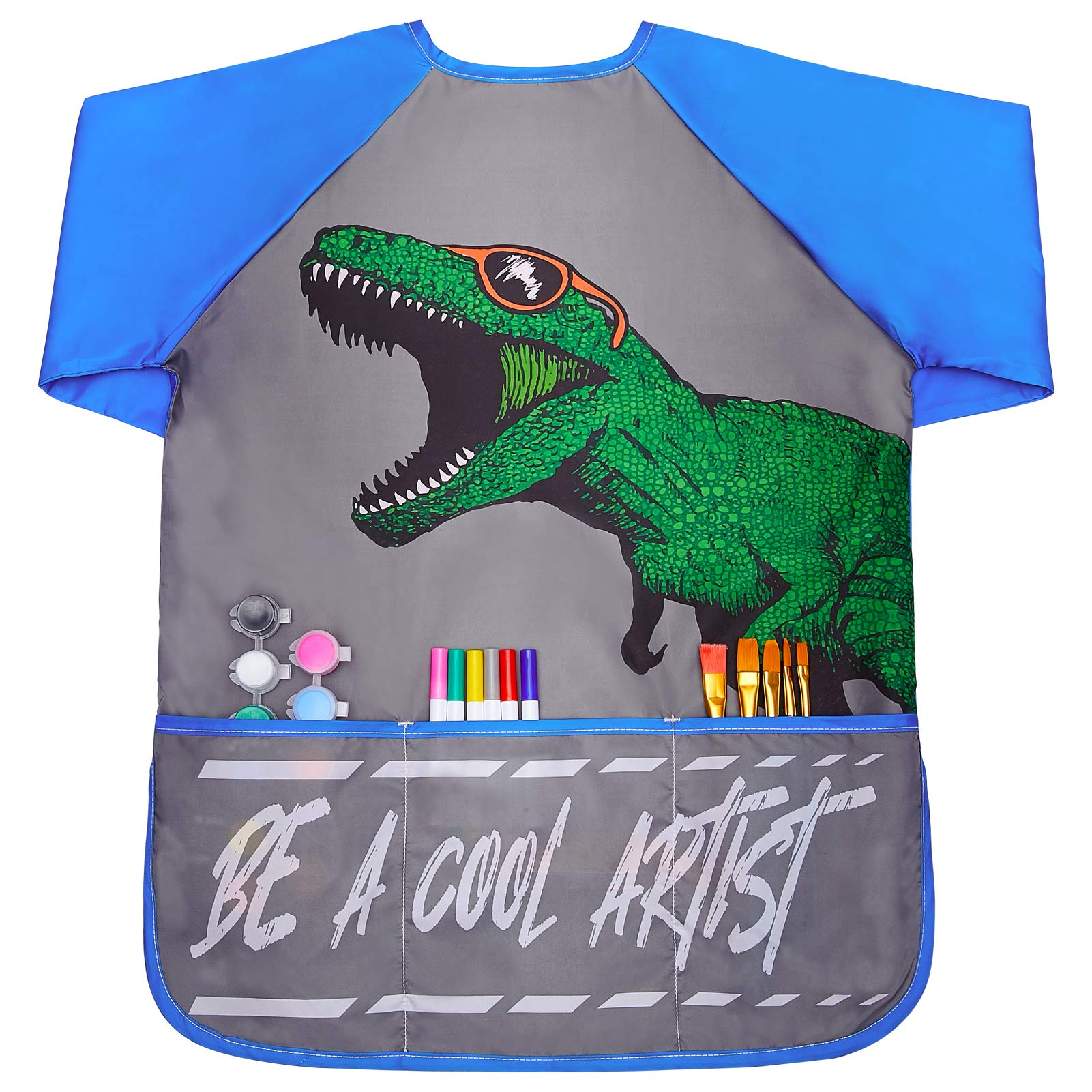 Play Tailor Smock for Kids Boys Painting Art Smocks Dinosaur Long Sleeve Waterproof Apron with Pockets