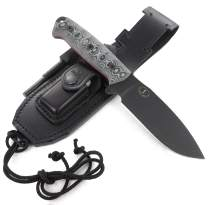 JEO-TEC Nº1 Bushcraft Survival Hunting Camping Knife - BOHLER N690C Stainless Steel, Multi-positioned Leather Sheath - Handmade