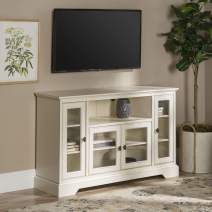 """WE Furniture Traditional Wood Stand for TV's up to 56"""" Living Room Storage, 52"""", White"""