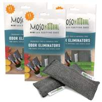 MOSO NATURAL: The Original Air Purifying Bag. Fragrance Free, Chemical Free, Long Lasting, Moisture Absorbing Odor Eliminator for Shoes, Gym Bags and Sports Gear. Three Packs of 2 (6 Total)