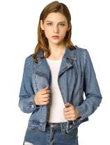 Allegra K Women's Asymmetrical Denim Jacket Moto Notched Lapel Zip Short Jacket