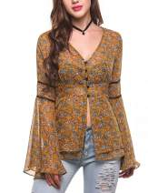 Zeagoo Women's Bell Sleeve Top Floral Print Chiffon Boho Blouse See Through Shirt