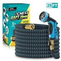 "OCNESS Expandable Garden Hose, 25ft Lightweight Flexible Water Hose with 9 Function Spray Nozzle, 3/4"" Solid Brass Fittings, Double Latex Core, Durable Fabric, Expanding Hose for Lawn Car Pet Washing"