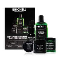 Brickell Men's Evening Face Care Routine II, Purifying Charcoal Face Wash, Detoxifying Charcoal Mask, Eye Cream, Anti-Aging Night Cream and Repairing Serum, Natural and Organic, Unscented
