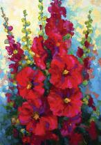 Toland Home Garden Bursting Floral 28 x 40 Inch Decorative Spring Summer Red Hollyhock Flower House Flag