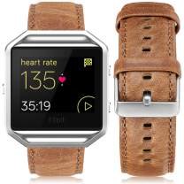 UMAXGET Leather Band Compatible with Fitbit Blaze Bands, Retro Cowhide Genuine Leather Band with Black Silver Metal Frame Compatible with Fitbit Blaze Smart Watch Strap for Men Women