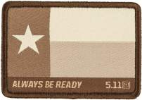 5.11 Tactical Texas Flag Patch, Hook Backing, Laser-Cut Size, Easy Attachment, Coyote, 1 SZ, Style 81197