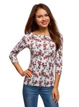 oodji Collection Women's Printed 3/4 Sleeve T-Shirt