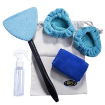 DEDC Windshield Window Cleaner Tool Kits, Car Window Cleaner Brush Auto Glass Wiper with Detachable Microfiber Cloth, Spray Bottle