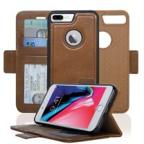 Navor Detachable Magnetic Wallet Case RFID Protection, Logo Hole, Compatible for iPhone 8 Plus [Vajio Series]-Brown (IP8PVJBR)
