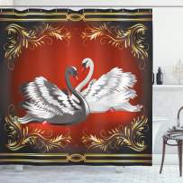 """Ambesonne Animal Shower Curtain, Black and White Swan Couple Ornamental Framework Romance Grace Tenderness Purity, Cloth Fabric Bathroom Decor Set with Hooks, 70"""" Long, Red Charcoal"""