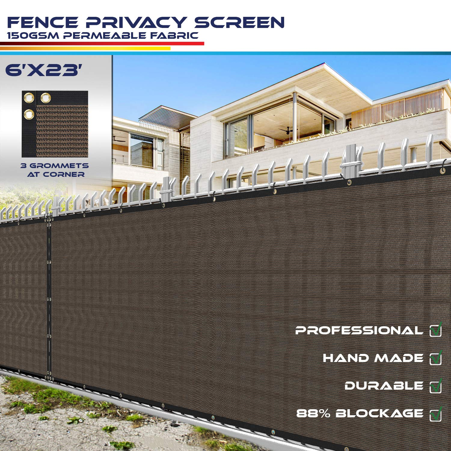 Windscreen4less Heavy Duty Privacy Screen Fence in Color Brown with Black Strips 6' x 23' Brass Grommets w/3-Year Warranty 150 GSM (Customized Size)