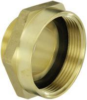 "Moon 357-2522061 Brass Fire Hose Adapter, Nipple, 2-1/2"" NH Female x 2"" NPT Male"
