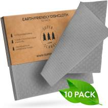 SUPERSCANDI Swedish Dishcloths 10-Pack Grey Reusable Biodegradable Cellulose Sponge Cleaning Cloths for Kitchen Dish Rags Washing Wipes Paper Towel Replacement Washcloths