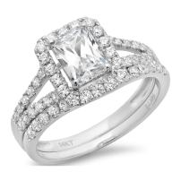 1.70 CT Emerald Cut Pave Halo Solitaire Designer Classic Ring band set Solid 14k White Gold