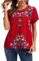 YZXDORWJ Women's Embroidered Mexican Peasant Blouse Mexico Summer Shirt Short Sleeve