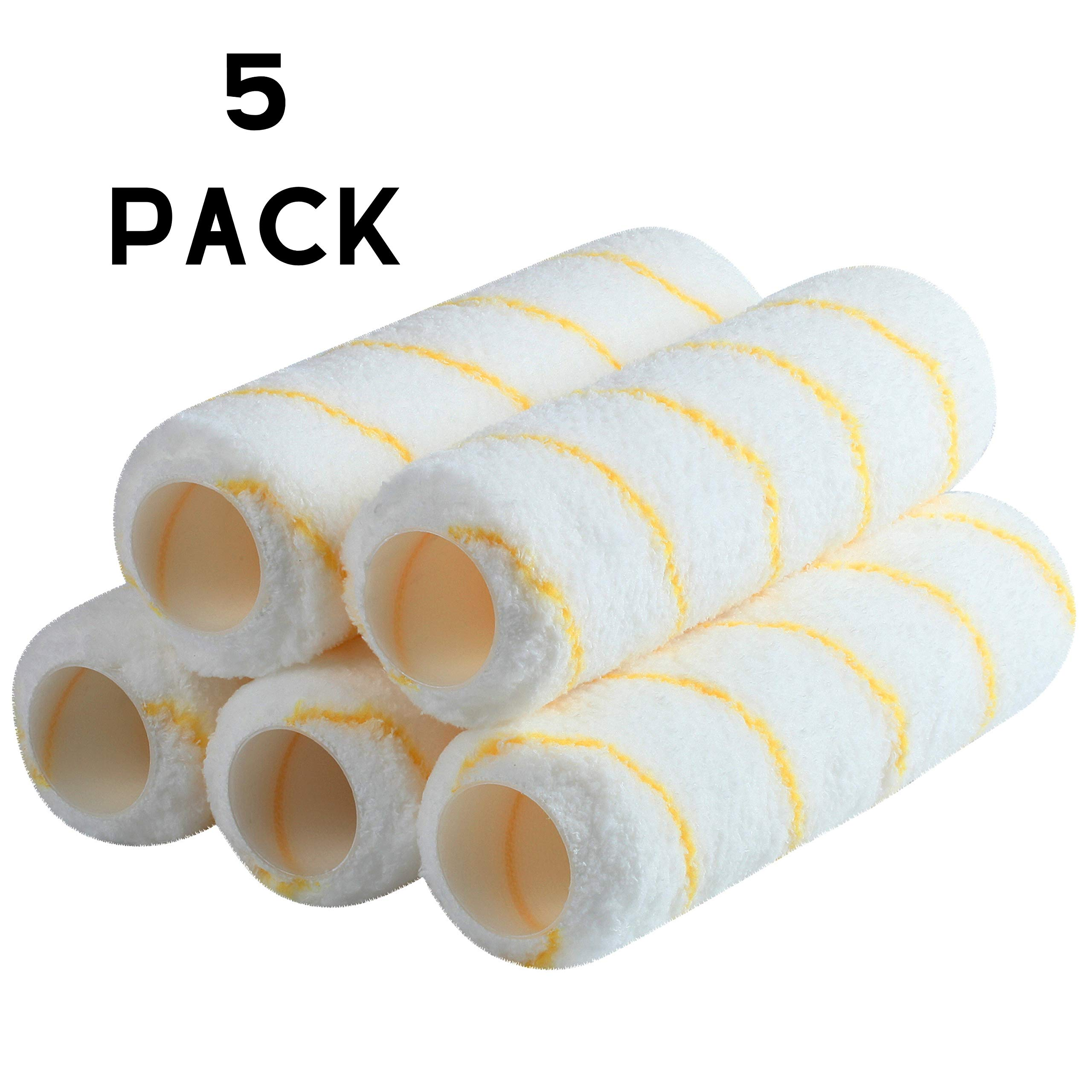 """Bates- Paint Roller Covers, 9"""" Roller Covers, Pack of 5, Covers for Paint Rollers, Naps for Paint Roller Brush, Roller Naps, House Painting Supplies, Nap for Roller Frame, Covers for Paint Roller Kit"""