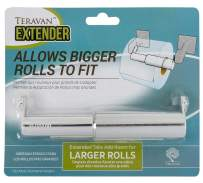 Teravan Extender for Extra Large Toilet Paper, Converts TP Holders to Fit Double Rolls and Triple Rolls, Extended Tabs Fit Most TP Fixtures, Easy to Use, Silver / Chrome, 1 Unit