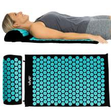 Vive Acupressure Mat - Bed of Nails Massage Pillow Pad - Full Body Massager Cushion for Back, Legs, Neck, Sciatica, Trigger Point Therapy, Stress and Pain Relief - Memory Foam for Chair, Bed, Travel