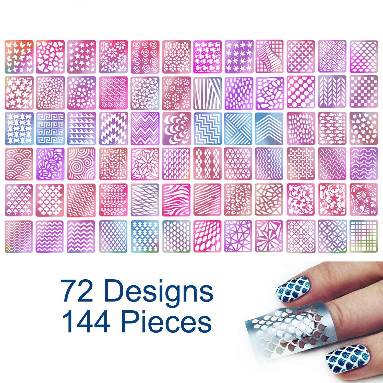 TailaiMei 144 Pieces 72 Designs Nail Vinyls Stencil Sticker Set for Nail Art Decal, 24 Sheets Reusable DIY Hollow Nail Art Supplies