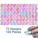 TailaiMei 144 Pieces 72 Designs Nail Vinyls Stencil Sticker Set for Nail Art Decal, 24 Sheets Reusable DIY Hollow Nail Art Supplies