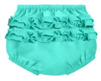 City Threads Baby Girls' Ruffle Swim Diaper Cover Reusable Leakproof for Swimming Pool Lessons Beach, Turquoise, 0/3m