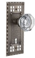 """Nostalgic Warehouse Craftsman Plate with Keyhole Waldorf Crystal Knob, Privacy - 2.375"""", Antique Pewter"""