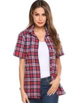 SUNAELIA Womens Plaid Flannel Shirt Short Sleeve Boyfriend Button Down Cotton Casual Blouse Check Gingham Top S-XXL