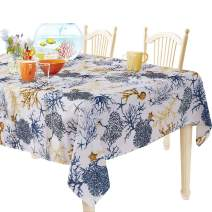 YEMYHOM Rectangle Tablecloth 60 x 104 Inch Spill-Proof Oil-Proof Microfiber Table Cover Machine Washable Indoor Outdoor Rectangular Table Cloth for Spring Summer Party Picnic Camping (Blue Tree)