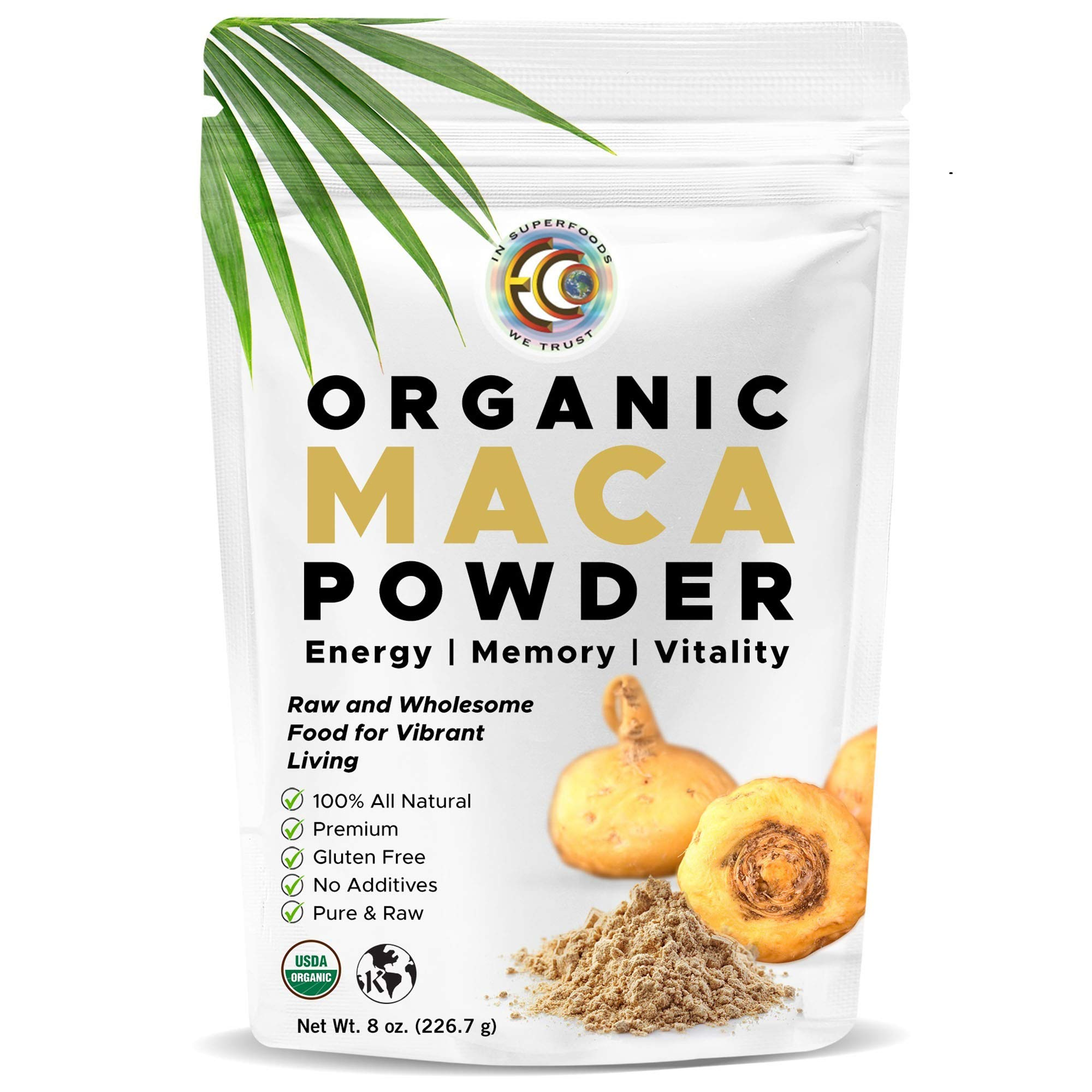 Earth Circle Organics - Organic Maca Root Powder, Natural Superfood, Helps with Energy, Hormone, Weight and Women's Fertility - USDA & Vegan Certified - 8oz(1 Pack)