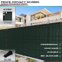 4' x 50' Privacy Fence Screen in Green with Brass Grommet 85% Blockage Windscreen Outdoor Mesh Fencing Cover Netting 150GSM Fabric with Zip Ties - Custom
