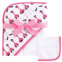 Hudson Baby Unisex Baby Cotton Hooded Towel and Washcloth, Fancy Flamingo, One Size