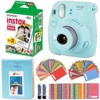Fujifilm Instax Mini 9 Instant Camera + Fuji Instax Mini Instant Film (20 Pack), Blue Photo Album, 60 Assorted Colorful Mini Sticker Frames (ICE Blue)