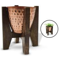 Olive + Crate ExquisiteHome Indoor Planters Handmade from Metal with Wooden Stands, Small Standing Planter Pots for Plants Indoor, Suitable for Succulents, Herbs, and Balcony Plant Pots (Copper)