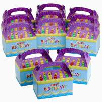 Kicko Happy Birthday Treat Boxes - 6.25 Inch Birthday Candle with Confetti Favor Box - Colorful Party Container - Assemble it Yourself Party Favor Box - Pack of 12