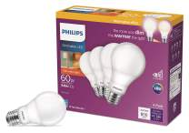 Phillips LED 548396 Dimmable A19 Light Bulb with Warm Glow Effect 800-Lumen, 2200-2700 Kelvin, 8.8-Watt (60-Watt Equivalent), E26 Base, Frosted, Soft White, 4-Pack, Title 20 Compliant
