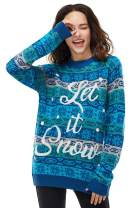 Unisex Women's Christmas Sweater Ugly Pullover Knit Classic Let it Snow, X-Small