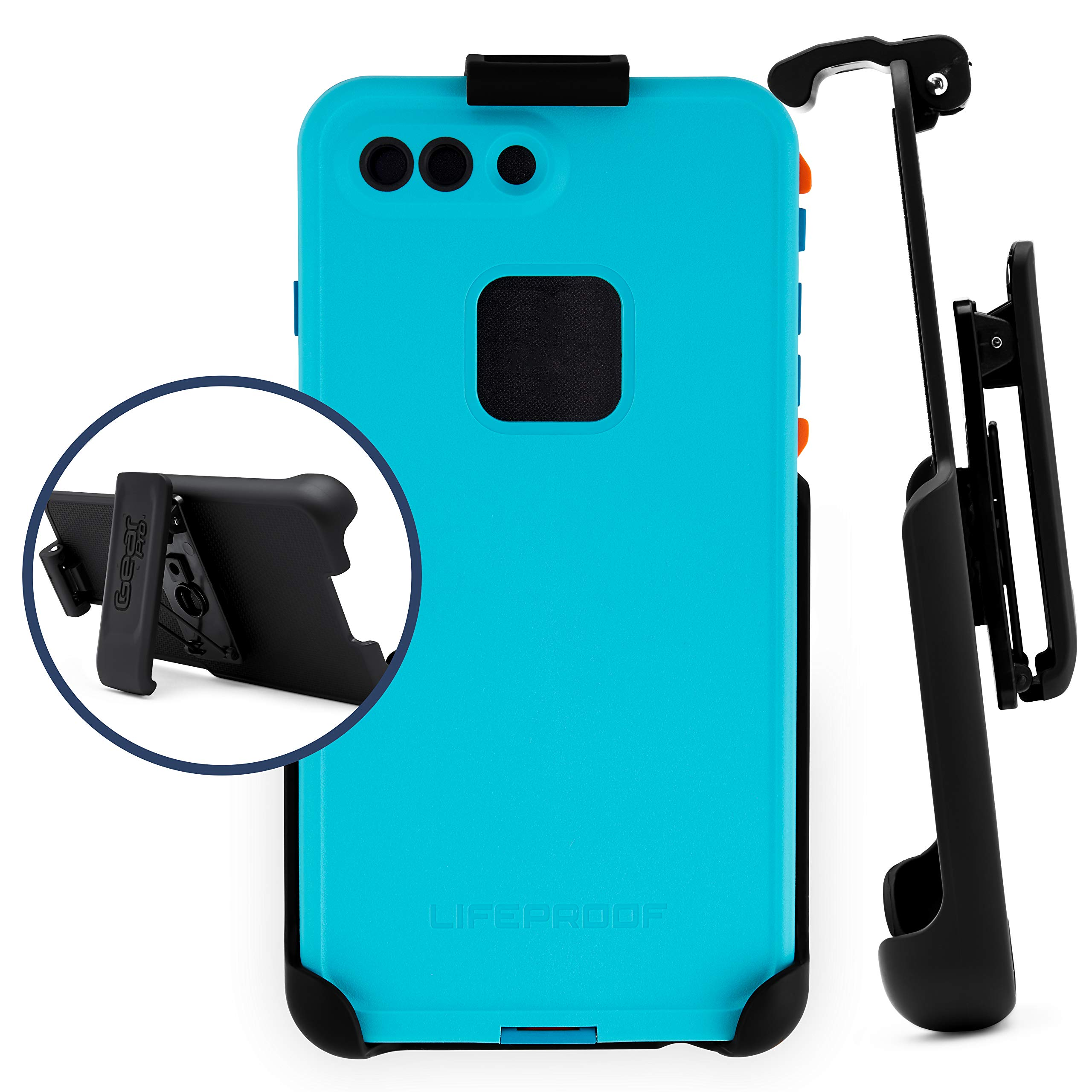 Belt Clip Holster Compatible with LifeProof FRE Series - iPhone 6plus, 6s Plus, 7 Plus, 8 Plus   Easy Fit   Slim Design   Built in Kickstand [case not Included]
